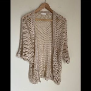 NWOT blu pepper cream crocheted open cardigan